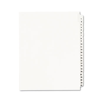 Standard Collated Legal Dividers Style, Letter Size, Avery-Style, Side Tab Dividers, 1-25 Tab Set