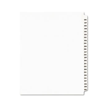Standard Collated Legal Dividers Style, Letter Size, Avery-Style, Side Tab Dividers, 226-250 Tab Set