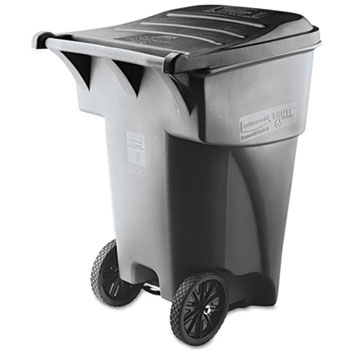 Rubbermaid® Commercial Brute Rollout Heavy-Duty Waste Container, Square, Polyethylene, 95gal, Gray