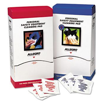 Allegro® Respirator Cleaning Pads, 5 x 7, White, 100/Box