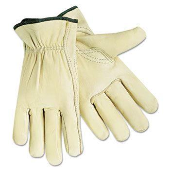 Memphis™ Economy Leather Drivers Gloves, White, Large