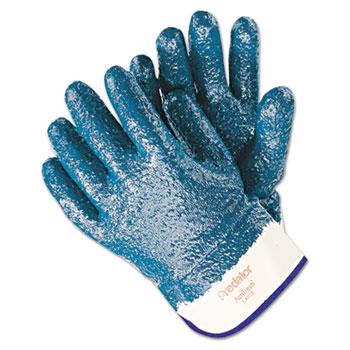 Memphis™ Predator Premium Nitrile-Coated Gloves, Blue/White, Large, 12 PR/PK