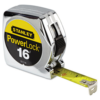 "Stanley Tools® Powerlock Tape Rule, 3/4"" x 16ft, Plastic Case, Chrome, 1/32"" Graduation"