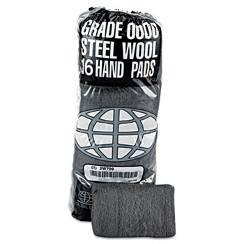 GMT Industrial-Quality Steel Wool Hand Pad, #2 Medium Coarse, 16/PK, 12 PK/CT