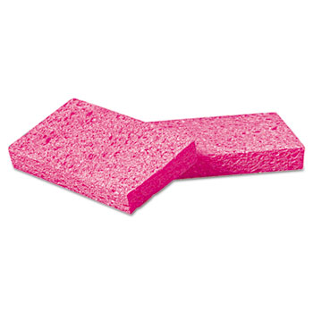 "Small Cellulose Sponge, 3 3/5 x 6 1/2"", 9/10"" Thick, Pink, 2/Pack, 24 Packs/CT"