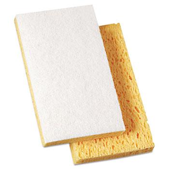 "Scrubbing Sponge, Light Duty, 3.6 x 6.1, 0.7"" Thick, Yellow/White, Individually Wrapped, 20/Carton"