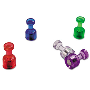 """Push Pin Magnets, Assorted Translucent, 3/4"""" x 3/8"""", 10 per Pack"""