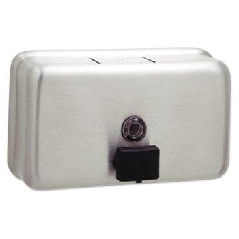 Bobrick ClassicSeries Surface-Mounted Liquid Soap Dispenser, Horizontal, 40 oz, Metal