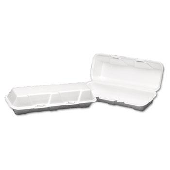 Genpak® Foam Hinged Hoagie Container, X-Large, 13-1/5x4-1/2x3-1/5, White, 100/BG, 2/CT