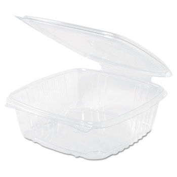 Genpak® Clear Hinged Deli Container, Plastic, 48 oz, 8 x 8-1/2 x 2-1/2, 100/BG, 2 BG/CT