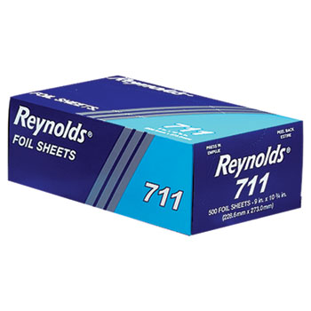 "Pop-Up Interfolded Aluminum Foil Sheets, 9"" x 10 3/4"", Silver, 500/BX, 6 BX/CT"