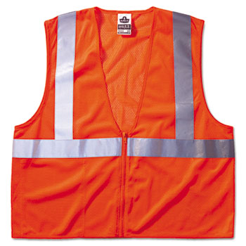 ergodyne® GloWear 8210Z Class 2 Economy Vest, Polyester Mesh, Zipper Closure, Orange, L/XL