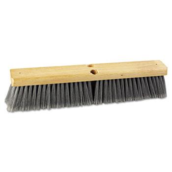"Boardwalk® Floor Brush Head, 3"" Gray Flagged Polypropylene Bristles, 18"" Brush"