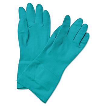 Boardwalk® Flock-Lined Nitrile Gloves, Medium, Green, Dozen