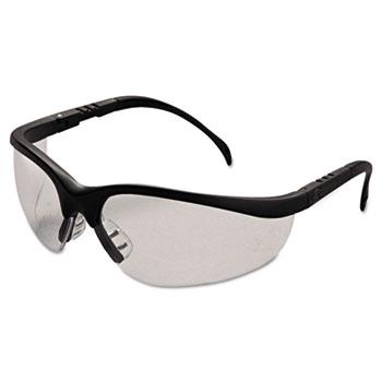 Crews® Klondike Safety Glasses, Matte Black Frame, Clear Lens