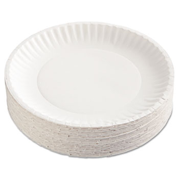 "Gold Label Coated Paper Plates, 9"" dia, White, 100/PK, 10 PK/CT"