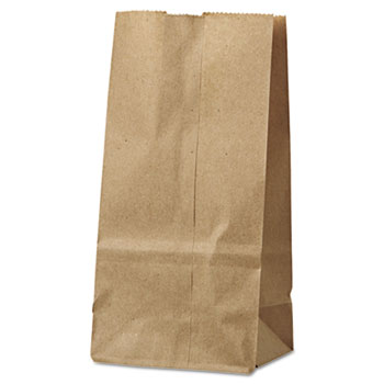 General #2 Paper Grocery Bag, 30lb Kraft, Standard 4 5/16 x 2 7/16 x 7 7/8, 500 bags
