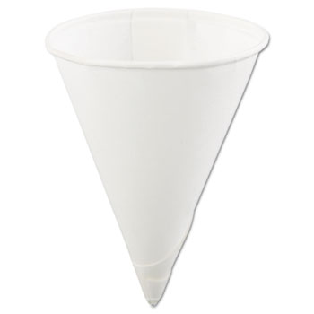 Konie® Rolled-Rim Paper Cone Cups, 4oz, White, 200/Bag, 25 Bags/Carton