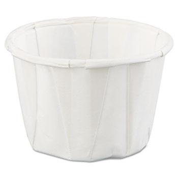 Squat Paper Portion Cup, 1oz, White, 250/Bag, 20 Bags/Carton
