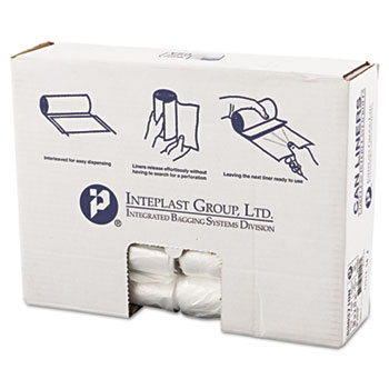 Inteplast Group High-Density Can Liner, 30 x 37, 30gal, 10mic, Clear, 25/Roll, 20 Rolls/Carton