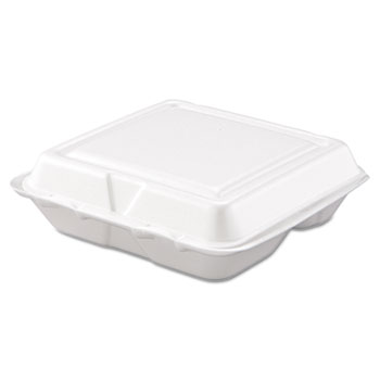 Carryout Food Container, Foam, 3-Comp, White, 8 x 7 1/2 x 2 3/10, 200/Carton