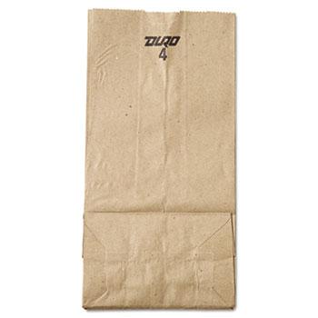 "#4 Paper Grocery Bag, 30lb Kraft, Standard 5"" x 3 1/3"" x 9 3/4"", 500/BD"