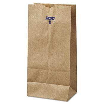 "#8 Paper Grocery Bag, 35 lb. Kraft, Standard 6 1/8"" x 4 1/6"" x 12 7/16"", 500/BD"
