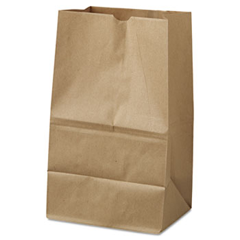 #20 Squat Paper Grocery Bag, 40lb Kraft, Std 8 1/4 x 5 15/16 x 13 3/8, 500 bags