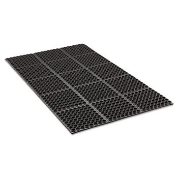 Crown Safewalk Heavy-Duty Anti-Fatigue Drainage Mat, General Purpose, 3' x 5', Black