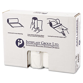 Inteplast Group High-Density Can Liner, 33 x 40, 33gal, 16mic, Clear, 25/Roll, 10 Rolls/Carton