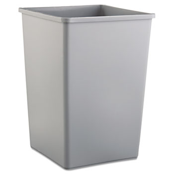 Rubbermaid® Commercial Untouchable Waste Container, Square, Plastic, 35gal, Gray