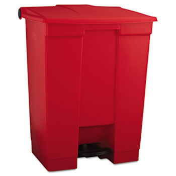 Indoor Utility Step-On Waste Container, Rectangular, Plastic, 18gal, Red