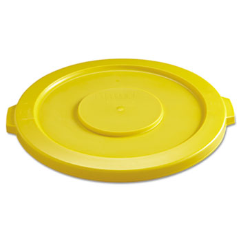 """Rubbermaid® Commercial Round Flat Top Lid, for 32-Gallon Round Brute Containers, 22 1/4"""", dia., Yellow"""