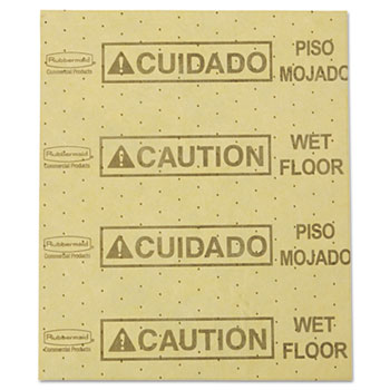 """Rubbermaid® Commercial Over-the-Spill Pad, """"Caution Wet Floor"""", Yellow, 16 1/2"""" x 20"""", 25 Pads/Pack"""