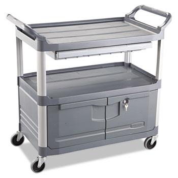 Rubbermaid® Commercial Xtra Instrument Cart, 300-lb Cap, Three-Shelf, 20w x 40-5/8d x 37-4/5h, Gray