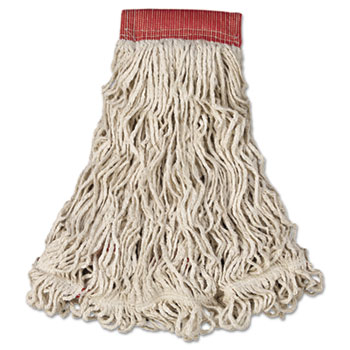 Rubbermaid® Commercial Swinger Loop Wet Mop Head, Large, Cotton/Synthetic, White, 6/Carton