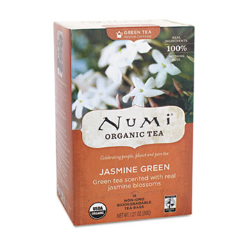 Organic Teas and Teasans, 1.27oz, Jasmine Green, 18/Box