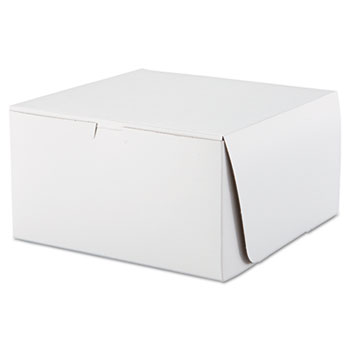 Tuck-Top Bakery Boxes, 10w x 10d x 5 1/2h, White, 100/Carton