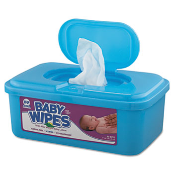 Baby Wipes Tub, White, 80/Tub, 12 Tubs/Carton