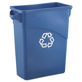 Rubbermaid® Commercial Slim Jim Recycling W/Handles, Rectangular, Plastic, 15.875gal, Blue
