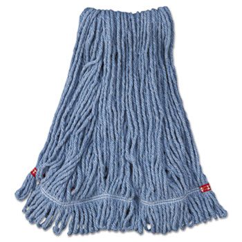 Rubbermaid® Commercial Web Foot Wet Mop Head, Shrinkless, Cotton/Synthetic, Blue, Medium, 6/CT