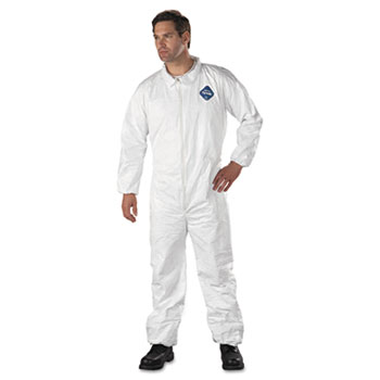 Tyvek Elastic-Cuff Coveralls, HD Polyethylene, White, X-Large, 25/Carton