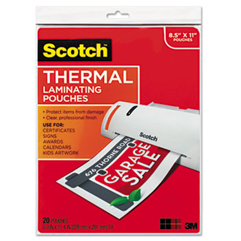 Scotch™ Letter Size Thermal Laminating Pouches, 3 mil, 11 1/2 x 9, 20/Pack