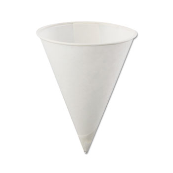 Poly-Bag Rolled-Rim Paper Cone Cups, 4oz, White, 5000/Carton