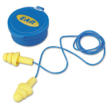 3M™ E·A·R UltraFit Multi-Use Earplugs, Corded, 25NRR, Yellow/Blue, 50 Pairs