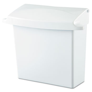Rubbermaid® Commercial Sanitary Napkin Receptacle with Rigid Liner, Rectangular, Plastic, White