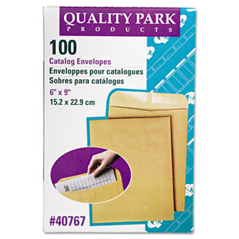 Quality Park™ Catalog Mailing Envelopes, 6 x 9, Gummed, Heavy 28 lb. Kraft Paper, 100/BX