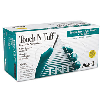 AnsellPro Touch N Tuff Nitrile Gloves, Teal, Size 8.5 9, 100/Box