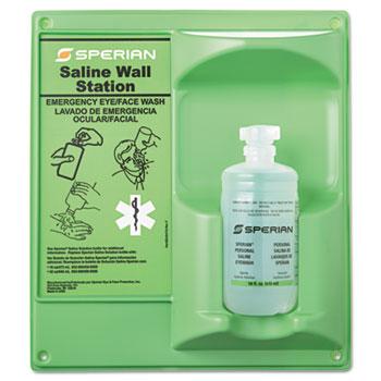 Honeywell Saline Eye Wash Wall Station, 16 oz. Bottle, 1 Bottle/Station