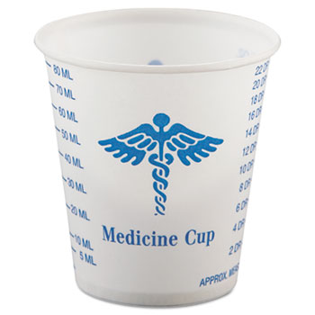 SOLO® Cup Company Paper Medical & Dental Graduated Cups, 3oz, White/Blue, 100/Bag, 50 Bags/Carton